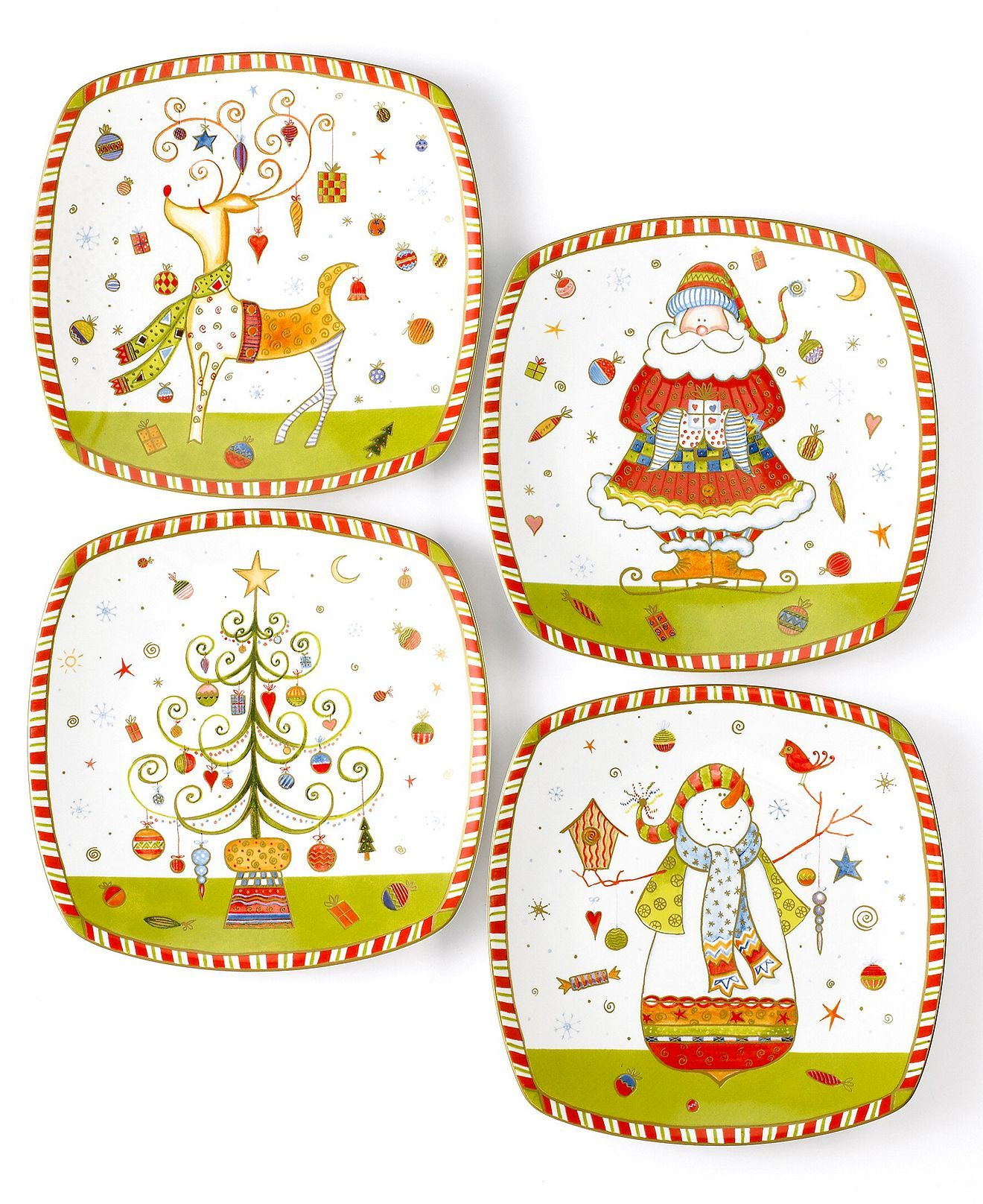 222 fifth christmas plates set of 4 assorted christmas play appetizer plates casual dining