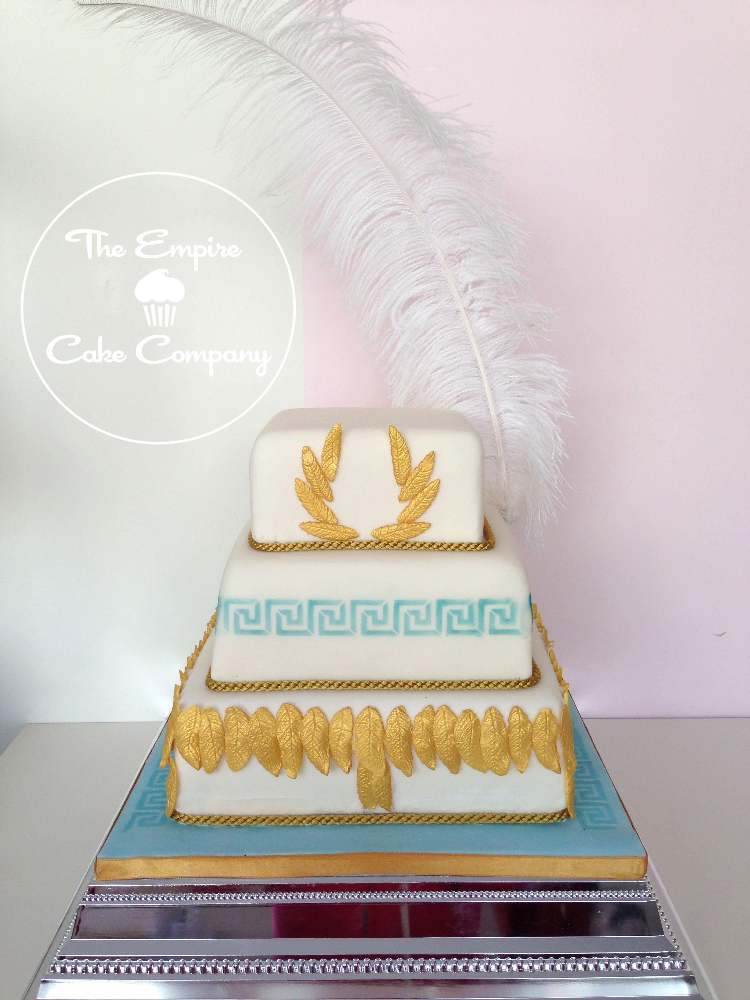 3 Tier Square Wedding Cake With Ancient Greek Themed Design And