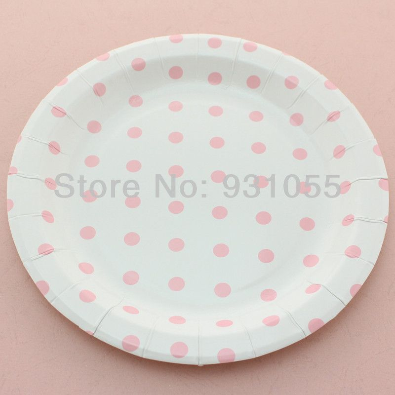 Pink Polka Dot Paper Plates 9  Round u0026 7  Square Yellow Green Blue Black : pink and blue paper plates - Pezcame.Com