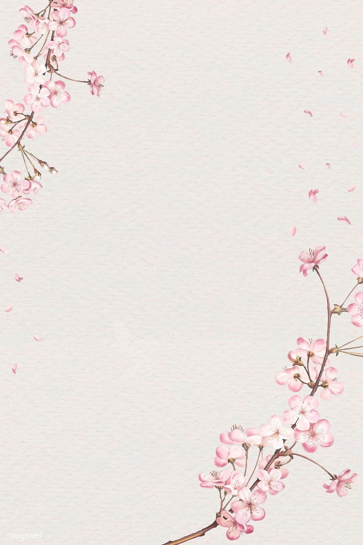 Download Premium Vector Of Blank Pink Floral Card Illustration 894151 Flower Iphone Wallpaper Floral Cards Flower Frame