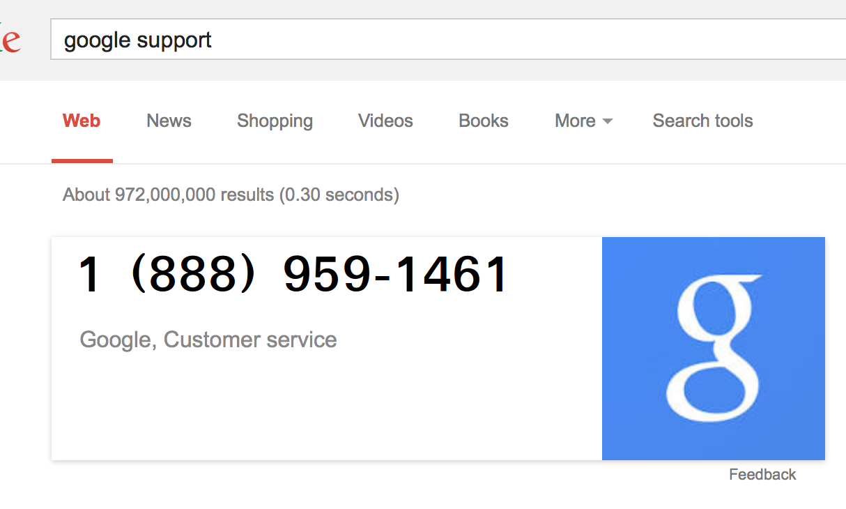 Google technical support or google customer service phone