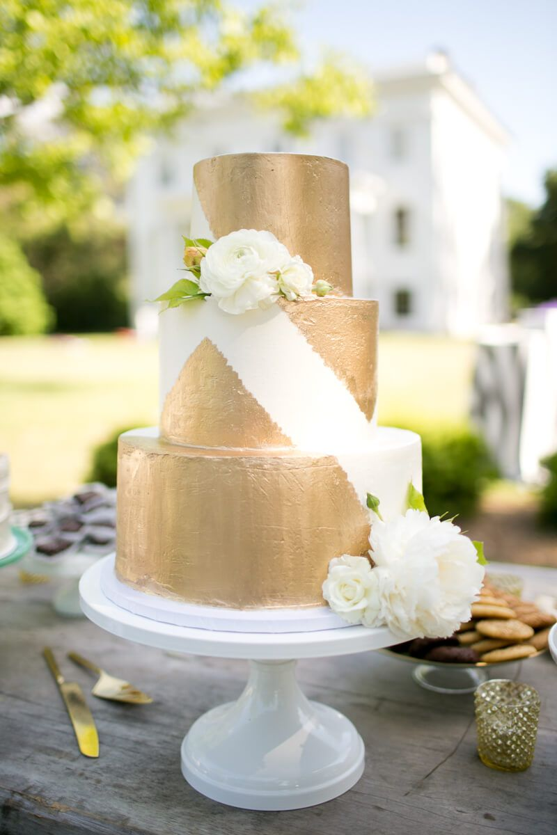 gold and white wedding cake at Wavering Place Plantation in ...