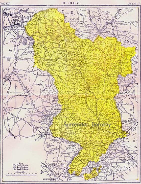 Derby County England Map Antique Copper Engraving Vintage European