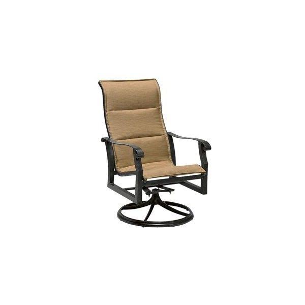 Woodard Cortland Padded High Back Swivel Rocker Lounge Chair Outdoor Sling Chair Outdoor Chairs Outdoor Umbrella Bases High back swivel rocker patio chairs