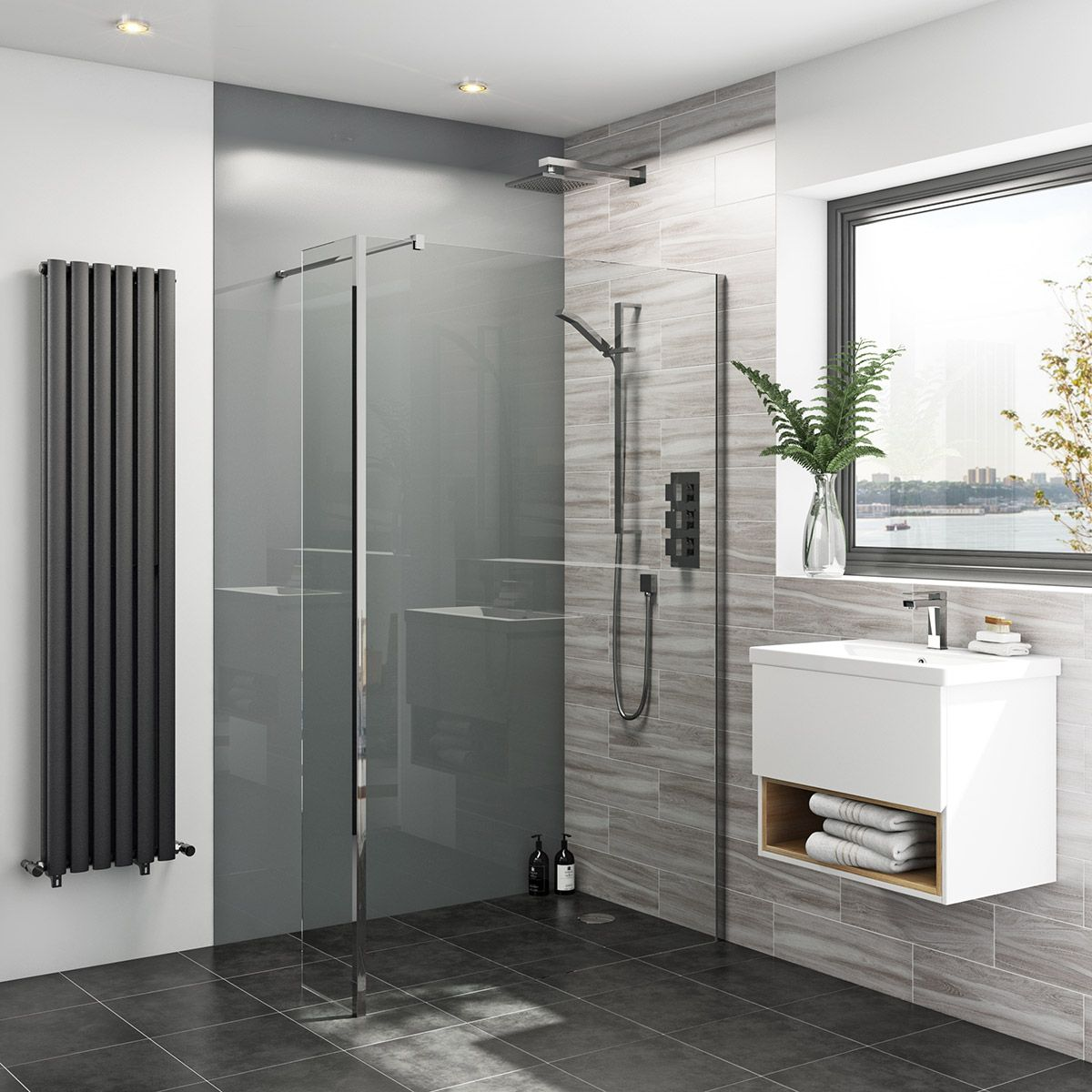 Zenolite plus ash acrylic shower wall panel 2440 x 1220 | Bathroom ...