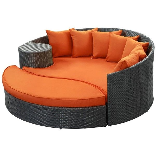 Lexmod Taiji Outdoor Wicker Patio Daybed With Ottoman In Espresso With Orange Cushions Outdoor Daybed Patio Daybed Outdoor Living Furniture