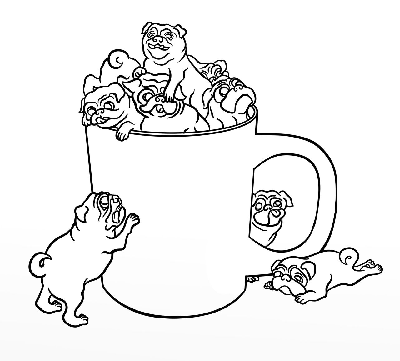 Coloring pages tumblr - Pug Puppy Coloring Pages Free Christmas Pug Coloring Pages Coloring Home Pages