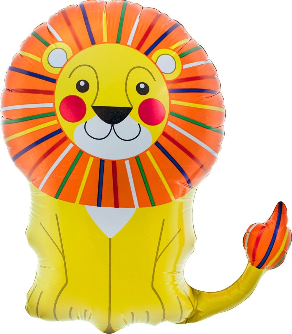 """Little Lion 14"""" Animal Air Fill Foil Balloon & Stick"""