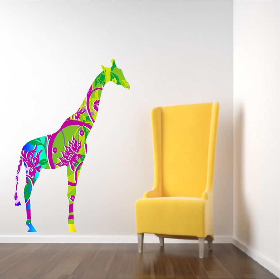 Kids Decor Giraffe Wall Decal in Bright Tropical Colors | bed room ...