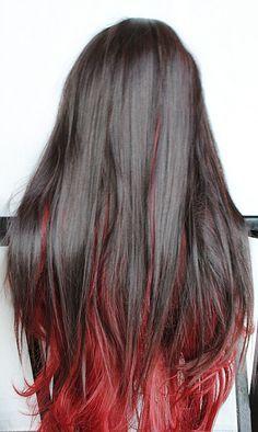Black Hair Dyed Red Underneath In 2020 Hair Color Streaks Hair Inspo Color Hair Streaks