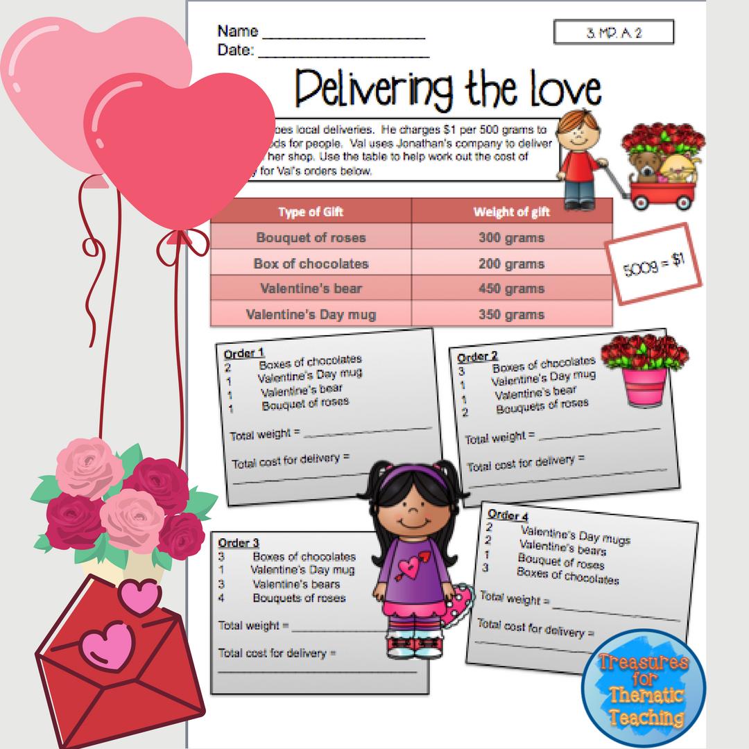 Valentines Day Mathematics Worksheets Grade 3 Pinterest Word