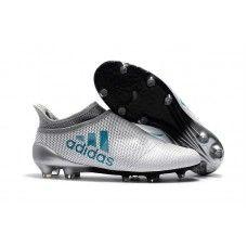 Chuteira Campo Adidas X 17+ Purechaos Branco Preto Azul  8b7ac7537f790