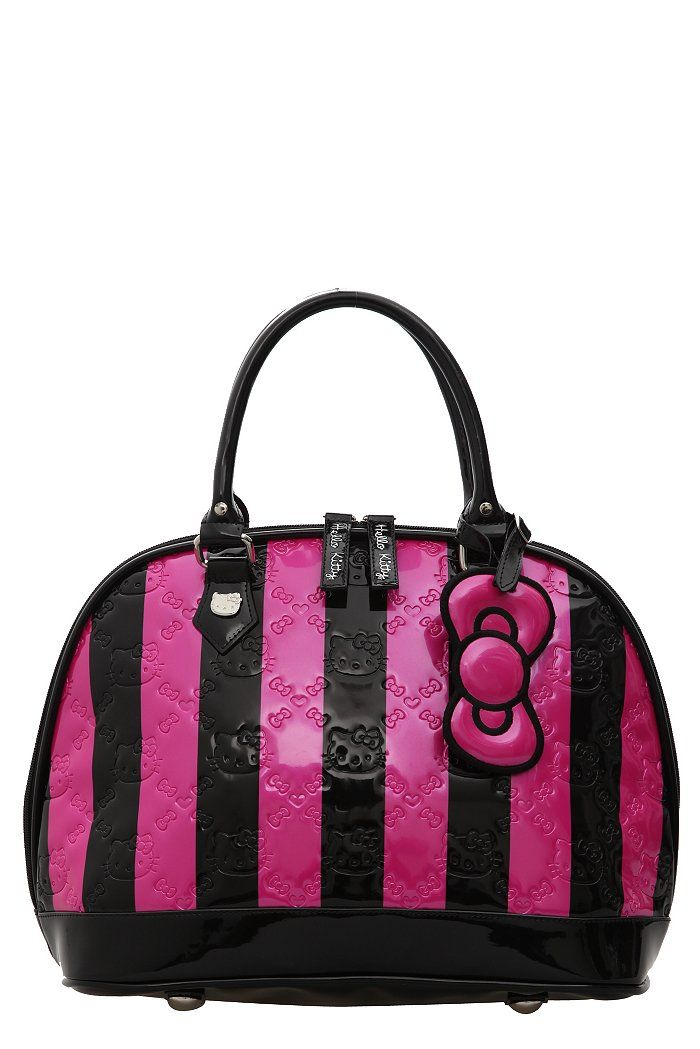 Loungefly Hello Kitty Embossed Stripes Patent Dome Bag   hello kitty ... d409c3824c