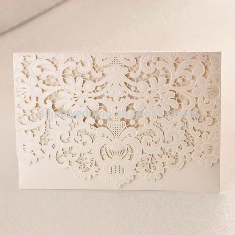 Classic Ivory Pearl Light Paper Emobossing And Laser Cut Lace ...