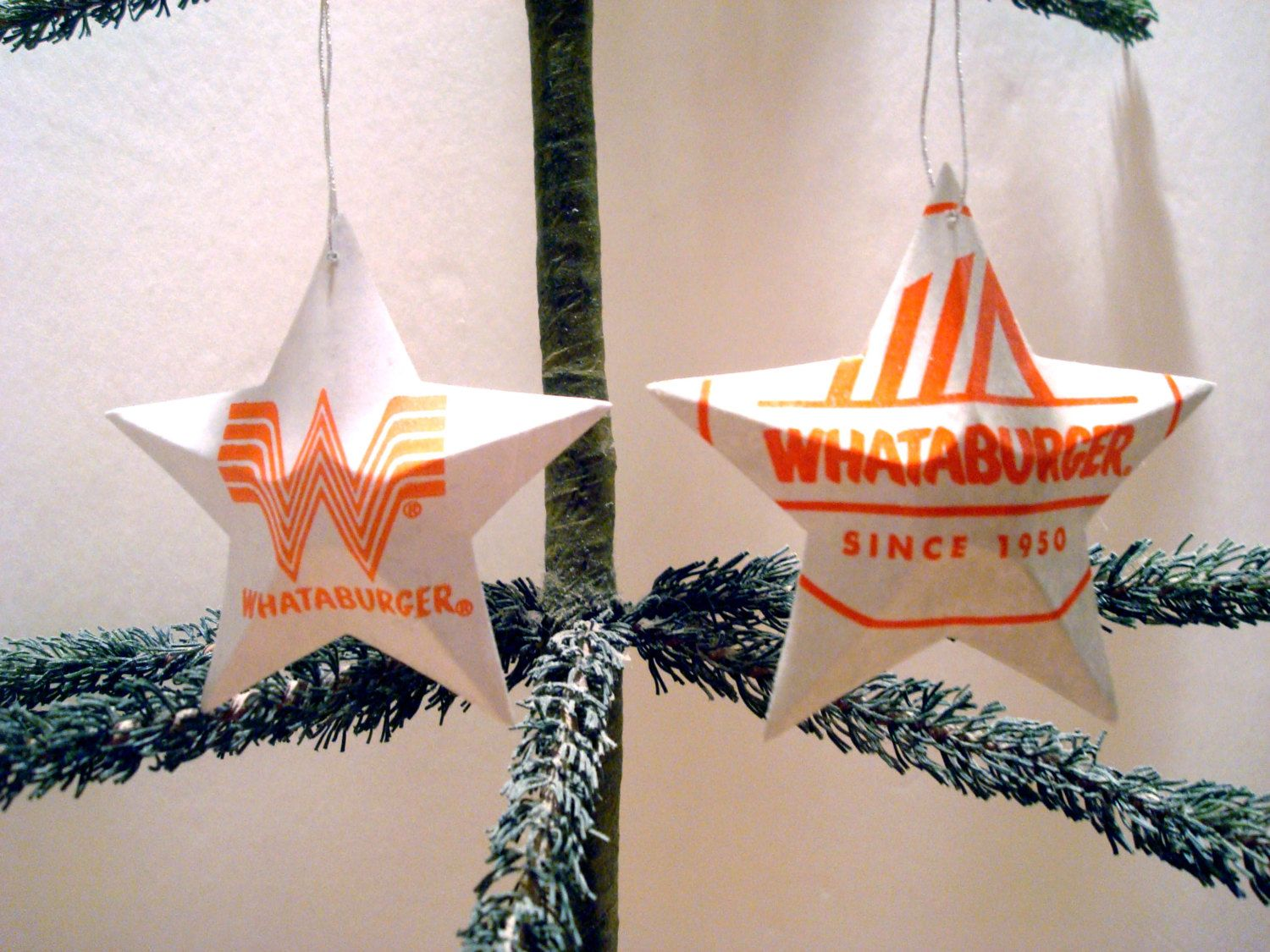 whataburger recycled aluminum stars 2 handmade christmas ornaments by texastiedyeguy on etsy - Is Whataburger Open On Christmas