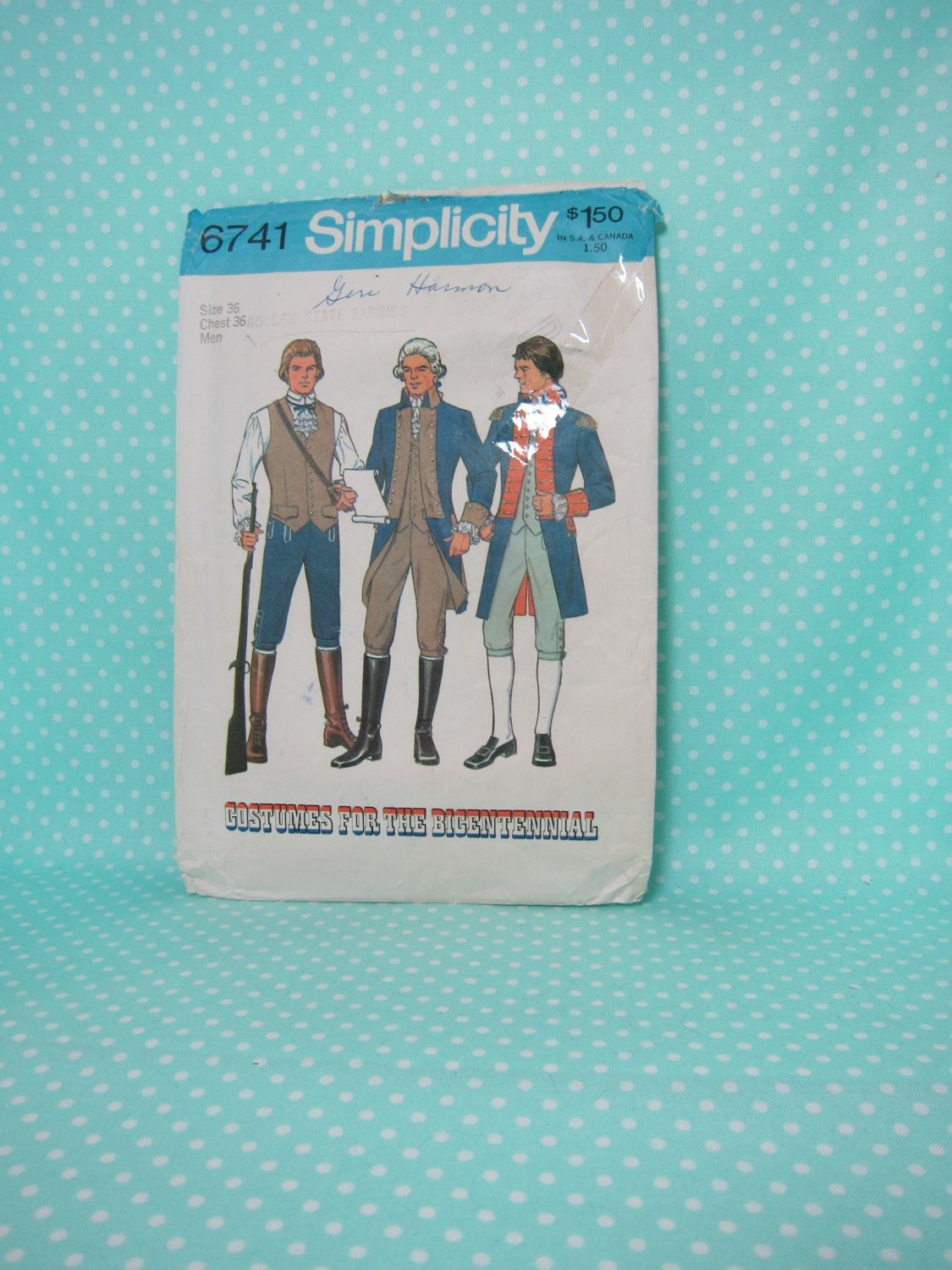 Alexander Hamilton Costume Pattern. Simplicity 6741. Men's Size: 36.   SOLD  Revolutionary War Costume Pattern. George Washiongton, Layfayette by FashionSew on Etsy