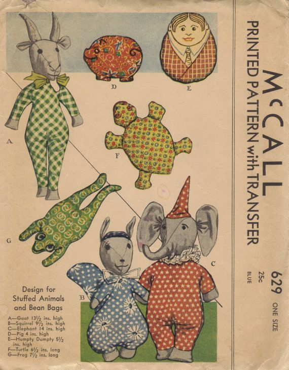 McCall 1930s Sewing Pattern Rare Stuffed Animals Baby Toys Soft Bean Bag Dolls Goat Elephant Frog
