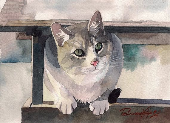 Giclee Print Of Watercolor Painting Tabby Cat Kitty Grey And White Cat Winter Green Eyes Cat Watercolor Cat Grey And White Cat Cat Painting