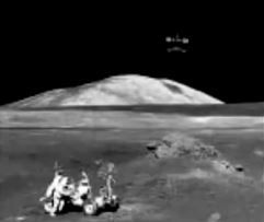 Alleged ufo ship near moon whilst Americans buzz around on their rover.