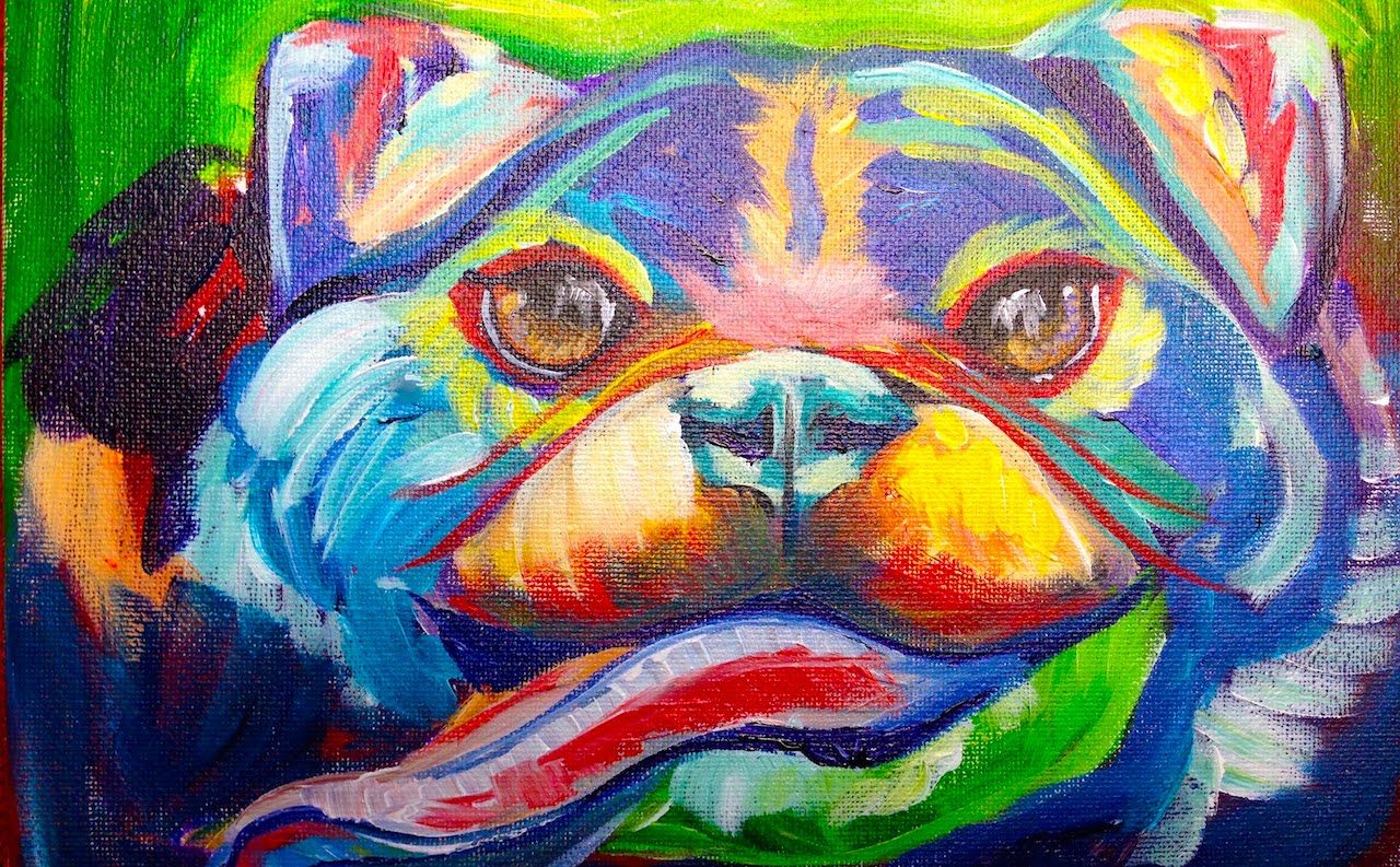 Easy Pug Painting Acrylic Abstract Dog Painting The Art Sherpa
