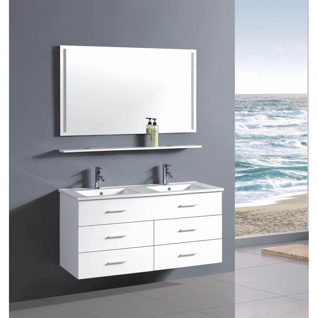 Belvedere 48 Inch Contemporary White Wall Floating Bathroom Double