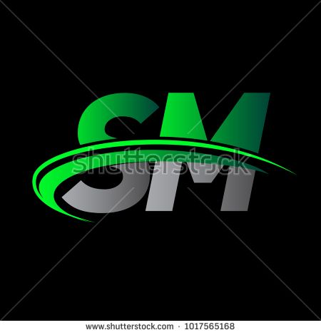 initial letter SM logotype company name colored green and black ...