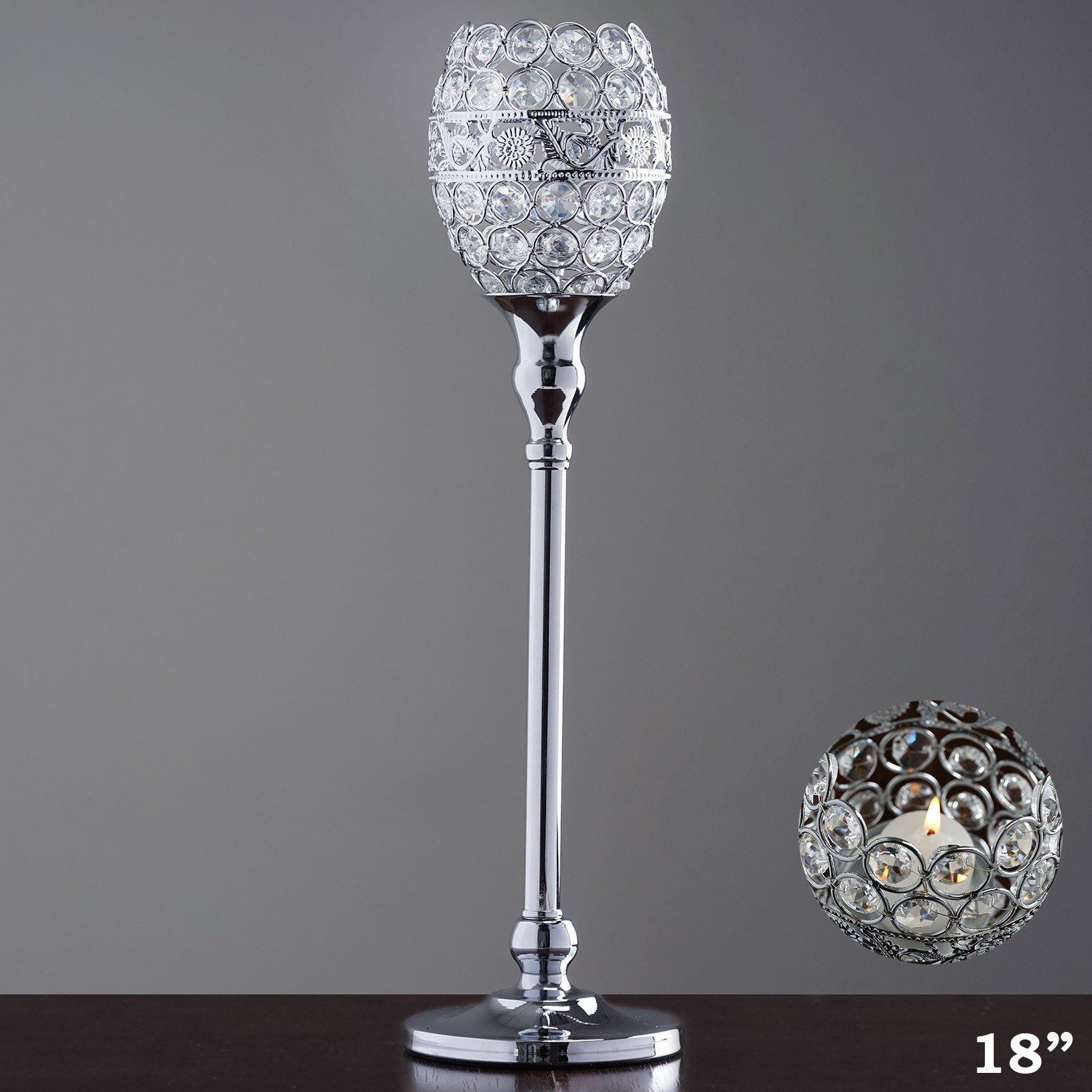 18 tall crystal beaded candle holder goblet votive tealight wedding 18 tall crystal beaded candle holder goblet votive tealight wedding chandelier centerpiece silver arubaitofo Gallery