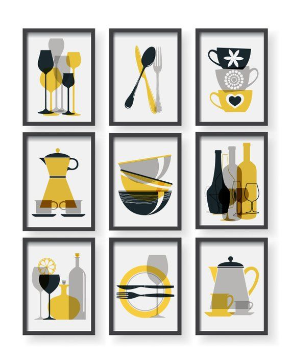 Best Mustard Yellow Modern Kitchen Prints Set Yellow Kitchen 400 x 300