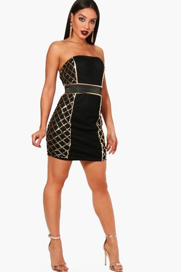a5db096d4261 Rosa Sequin Panel Bandeau Dress | Bandeau dress, Boohoo and Sequins