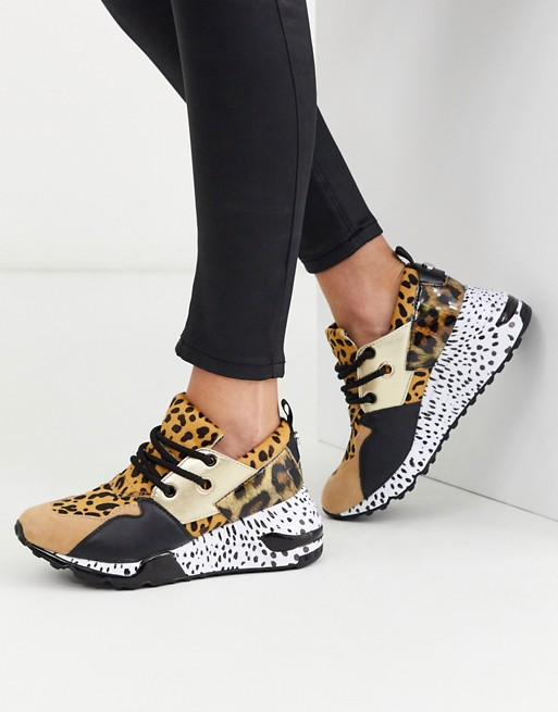Gran roble Retirado llenar  Steve Madden Cliff chunky trainers in leopard mix | ASOS | Holographic  heels, Steve madden, Women shoes