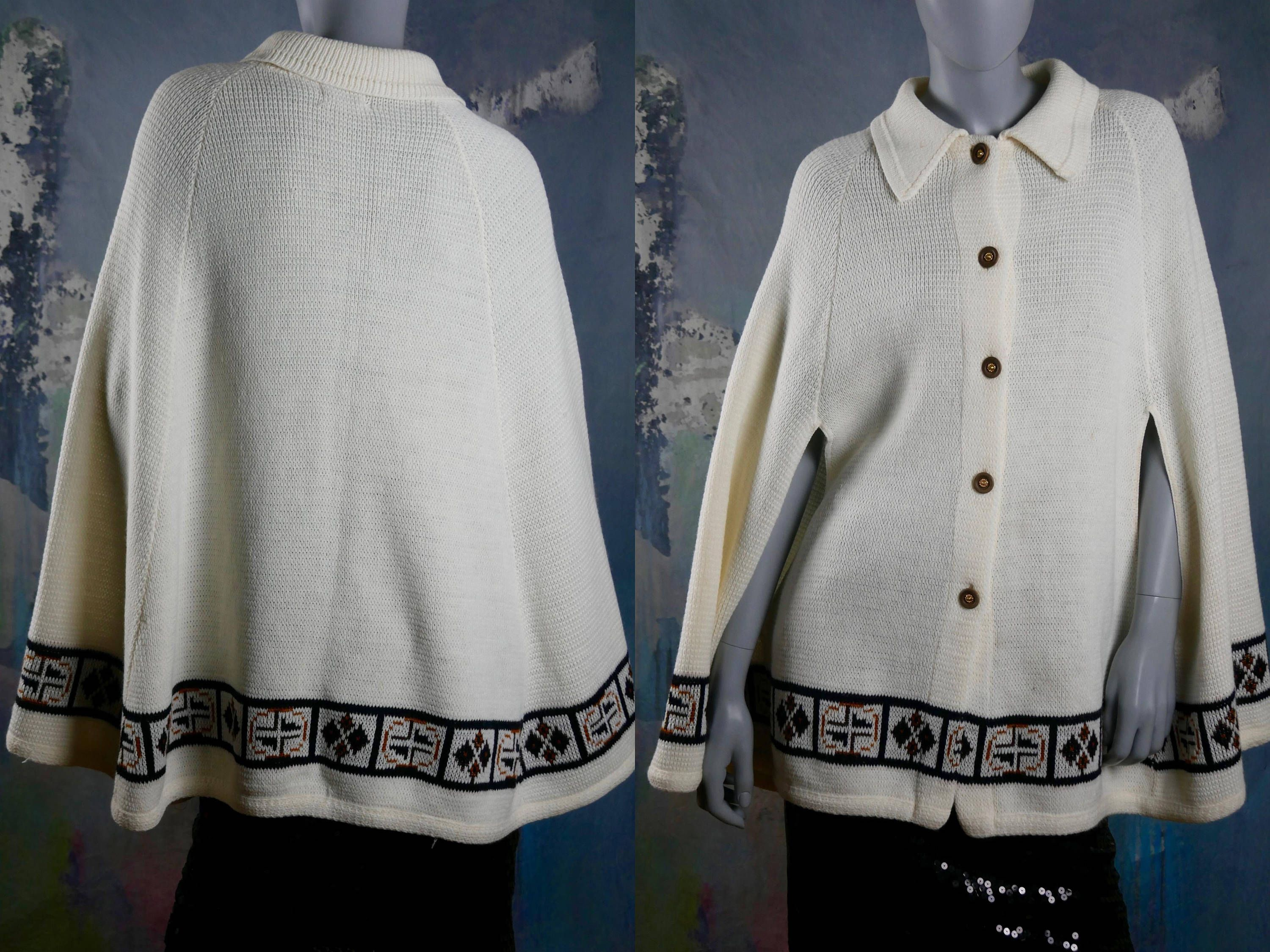 American Vintage Knit Poncho Winter White Button Down Cape Poncho W Brown And Rust Panel Band Of Nordic Symbols Size 8 10 Us 12 14 Uk Vintage Clothes Shop Vintage Clothes Women Knitted Poncho