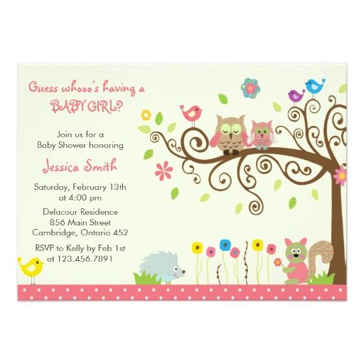 Cute Pink Owl Girl Baby Shower Invitations baby shower - baby shower invitation