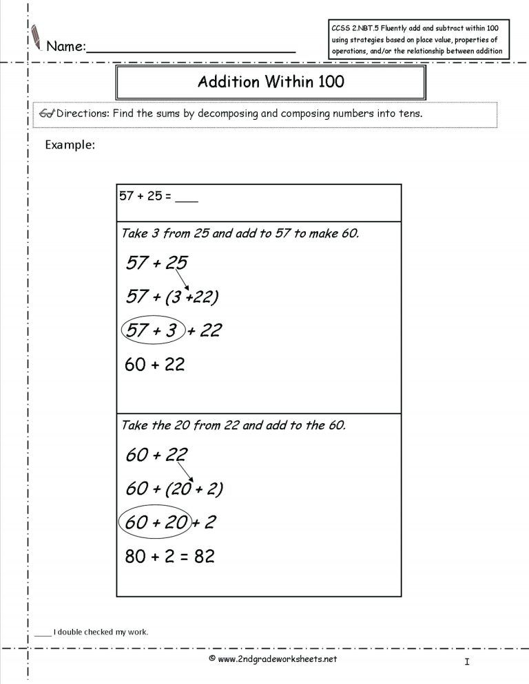 Common Core Math Worksheets 1St Grade Math Worksheet for
