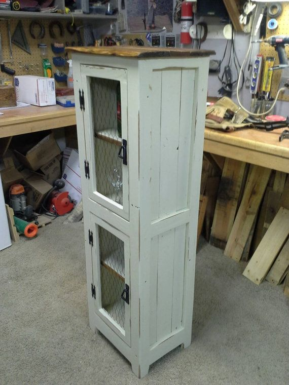 Rustic Pallet Cabinet With Chicken Wire Doors By UpTheCreekRustic