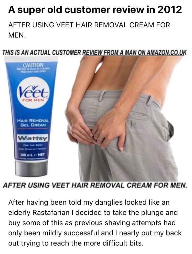 Veet Hair Removal Cream Review Is Timeless Comedy Gold Veet Hair