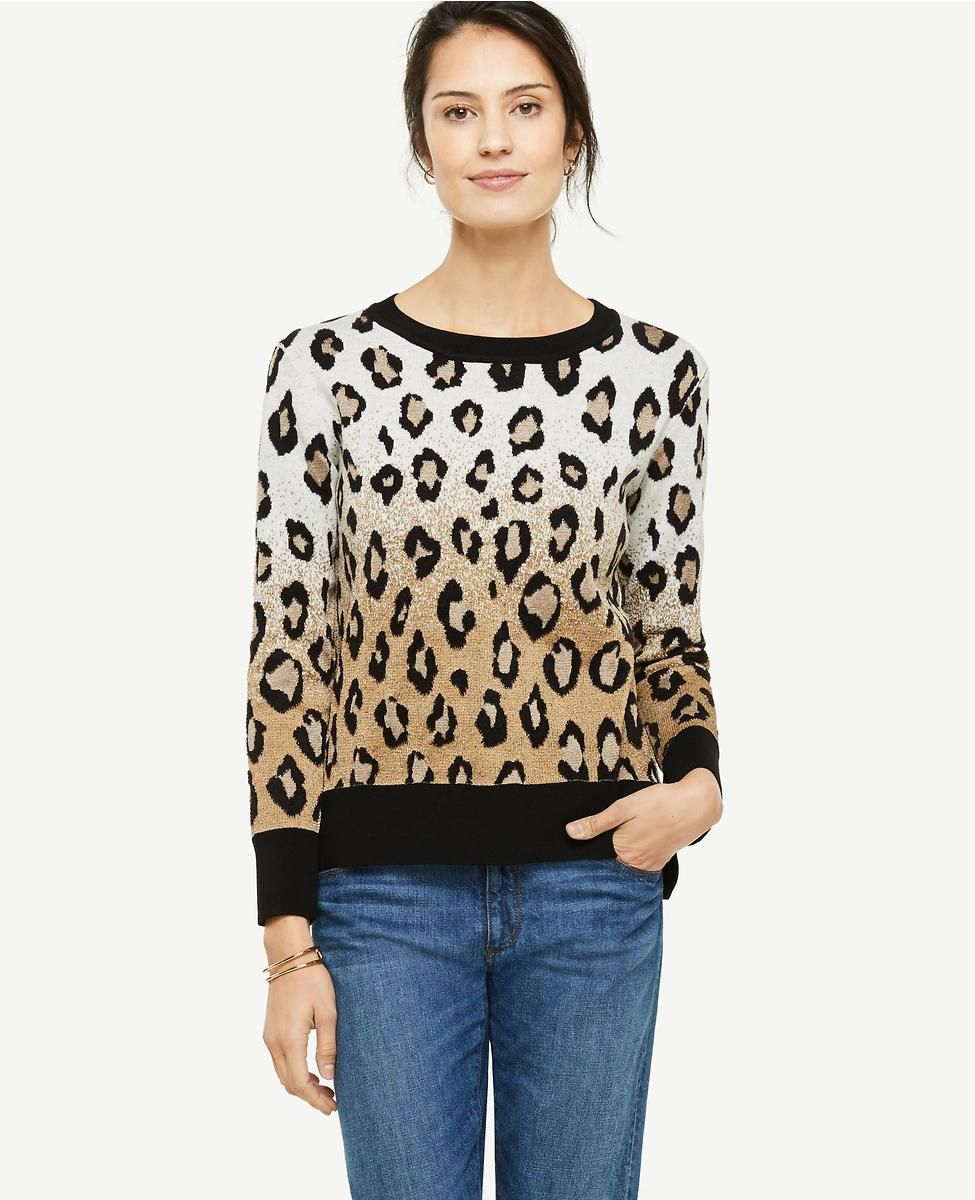 34a7f5497bbea8 Ann Taylor | Leopard Jacquard Sweater in Toasted Pistachio | Infinite Style  by Ann Taylor