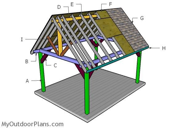 12x16 Pavilion Roof Plans Myoutdoorplans Free Woodworking Plans And Projects Diy Shed Wooden Playh Pavilion Plans Wooden Playhouse Woodworking Plans Free