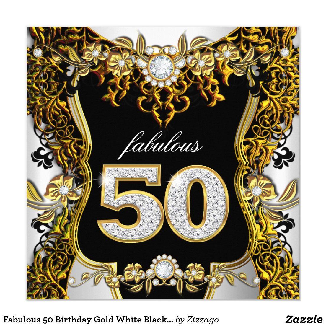 Fab 50 Birthday: Fabulous 50 Birthday Gold White Black Diamond Invitation