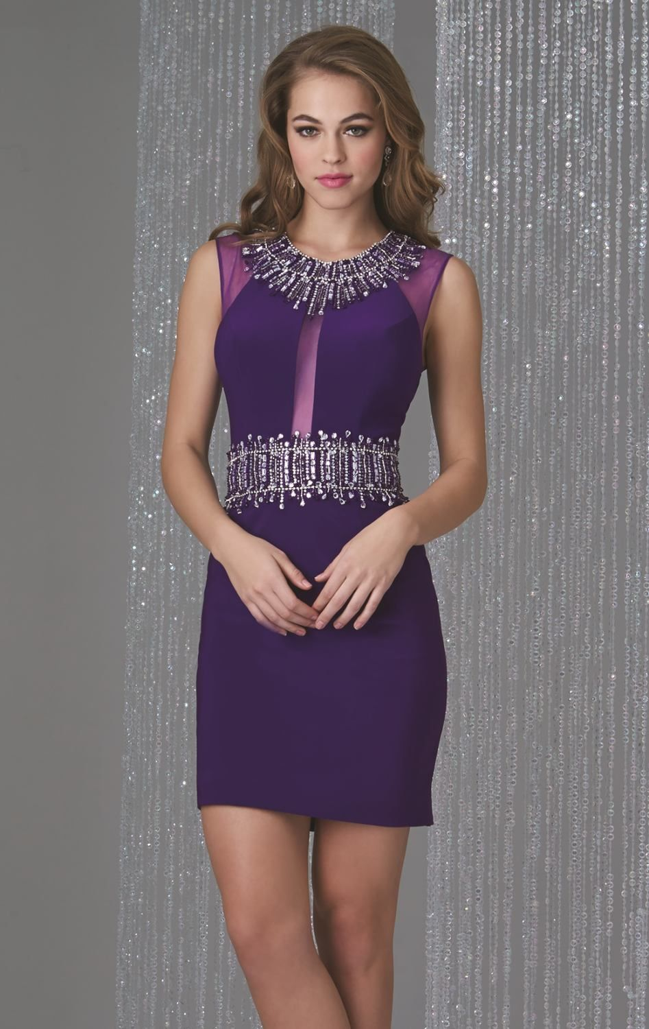 beaded-keyhole-back-cocktail-dress-short-purple | Clothes | Pinterest