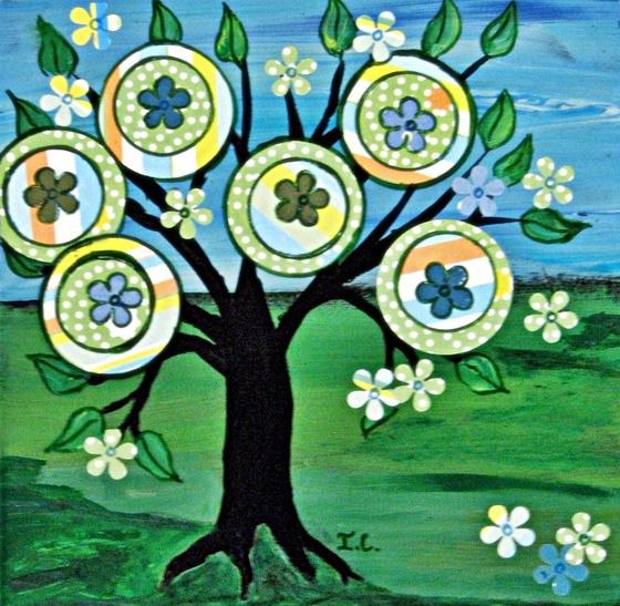 Original Mexican folk art Painting on upcycled wood Happy Tree $35.00