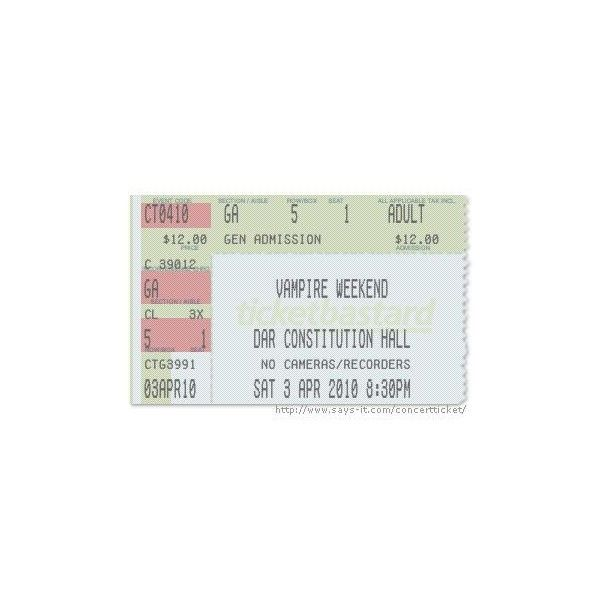 Concert Ticket Maker ❤ liked on Polyvore featuring fillers, tickets