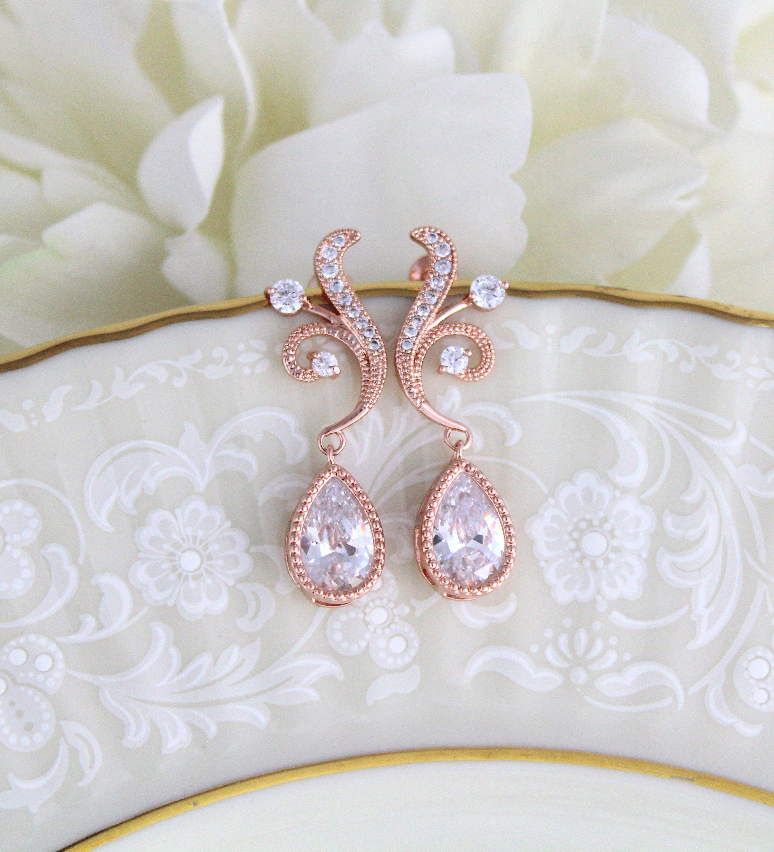 Rose Gold Bridal Earrings Simple Crystal Drop Wedding Earrings Bridal Jewelry Bridesmaid Earrings Teardrop Dangle Earrings Wedding Jewelry Gold Bridal Earrings Rose Gold Bridal Earrings Wedding Earrings Drop