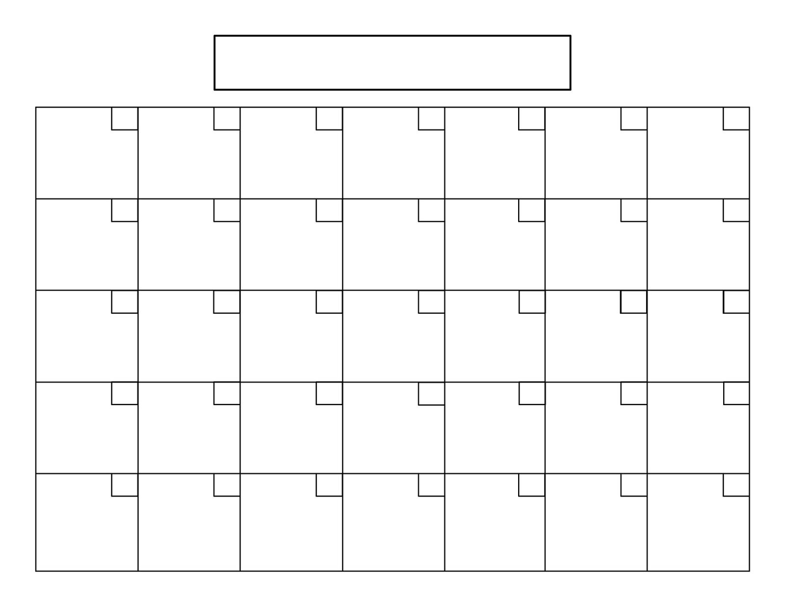 Monthly Calendar Grid Template : I like to do lists mostly checking things off of
