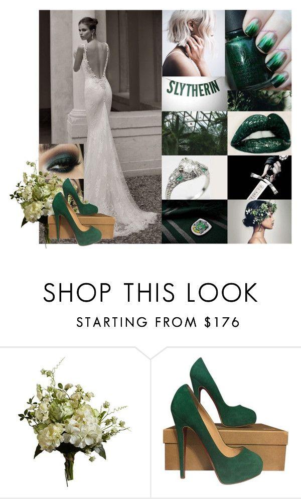 """Slytherin Wedding"" by livviaa-99 ❤ liked on Polyvore featuring Abigail Ahern, Christian Louboutin, slytherin, GREEN, inspiration and weddingideas"
