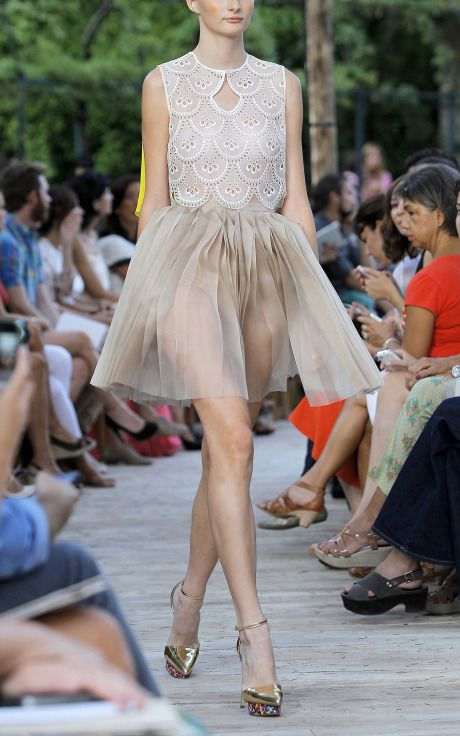 Feminine scalloped detailing from Delpozo Spring/Summer 2013 collection.