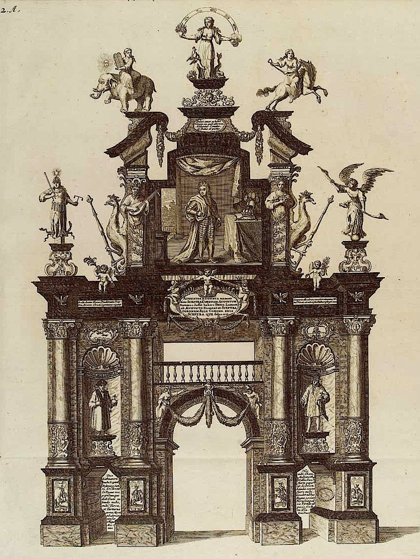 Triumphbogen (Figure 2), Curicke's Freuden-Bezeugung der Stadt Dantzig, Danzig 1698.   [Herzog August Bibliothek: Gm 4° 256]