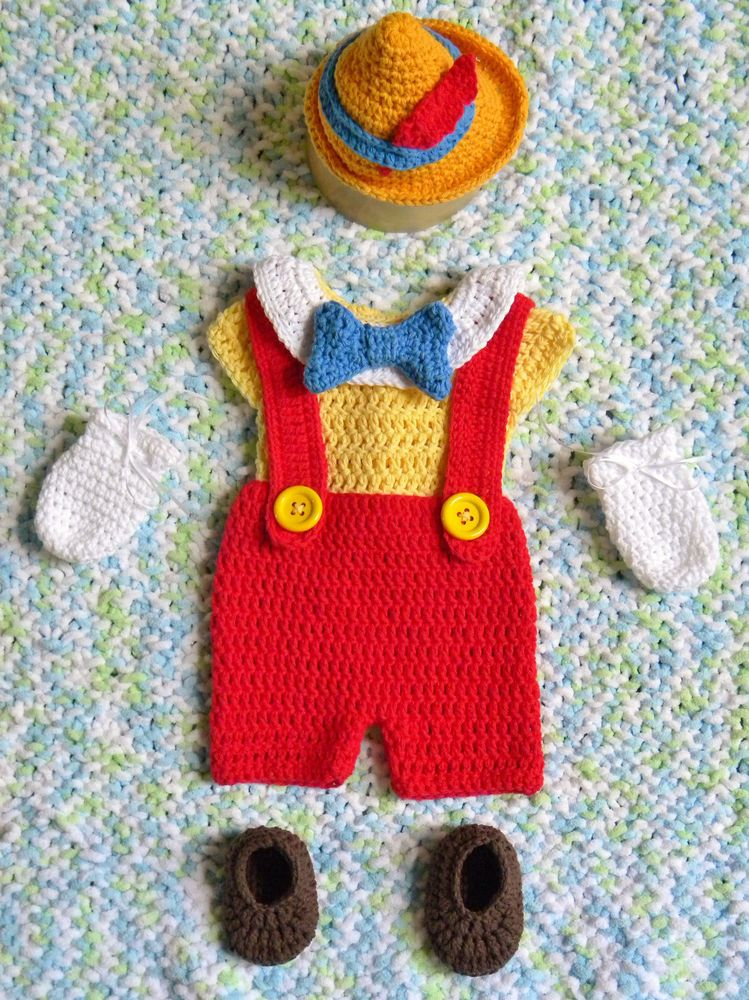 NEW! Crochet Disney\'s Pinocchio baby boy Outfit / Costume Photo Prop ...