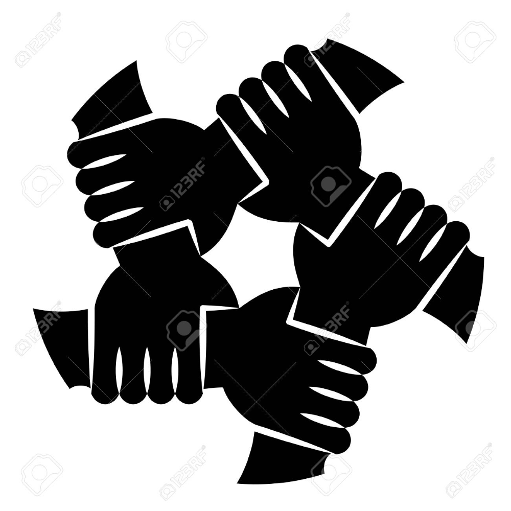 Vector Illustration Of Five Human Hands Silhouettes Holding Eachother Royalty Free Cliparts Vectors And Stock In 2020 Hand Silhouette Stock Illustration Human Hand