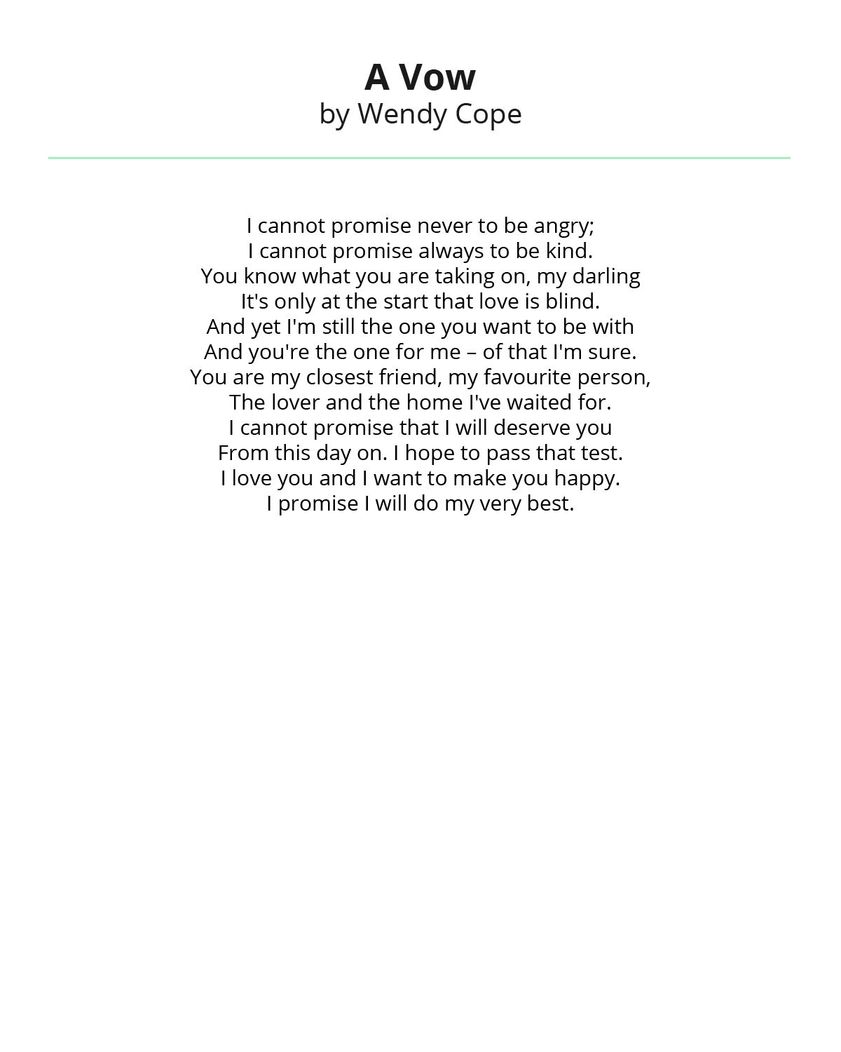 A Vow By Wendy Cope Wedding Reading