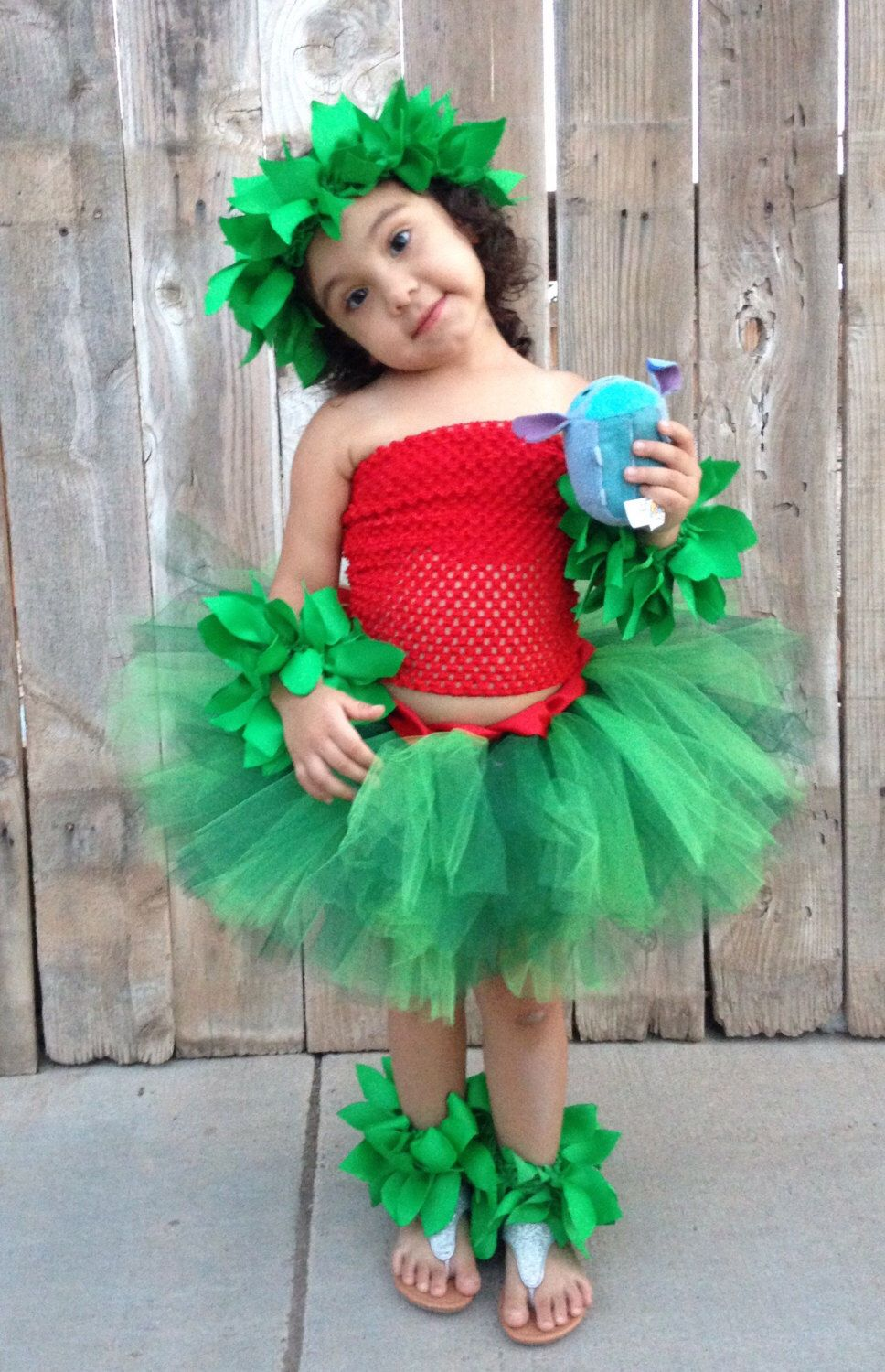 Girl Lilo Costume Dress Up Handmade Halloween Party Cosplay Birthday Tutu Tulle Outfit for Kid Toddler Child with Headband